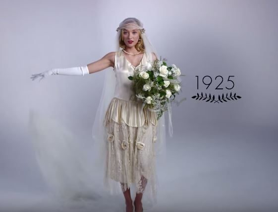 100 Years of Wedding Dresses in 3 Minutes